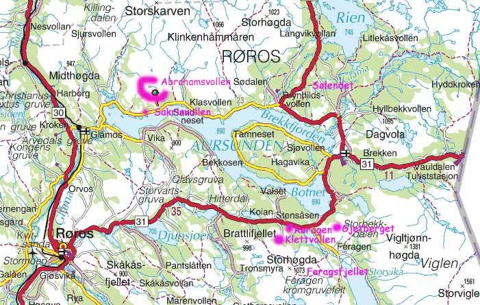kart over røros Botanikk.no: Røros ved Aursunden, Sør Trøndelag kart over røros