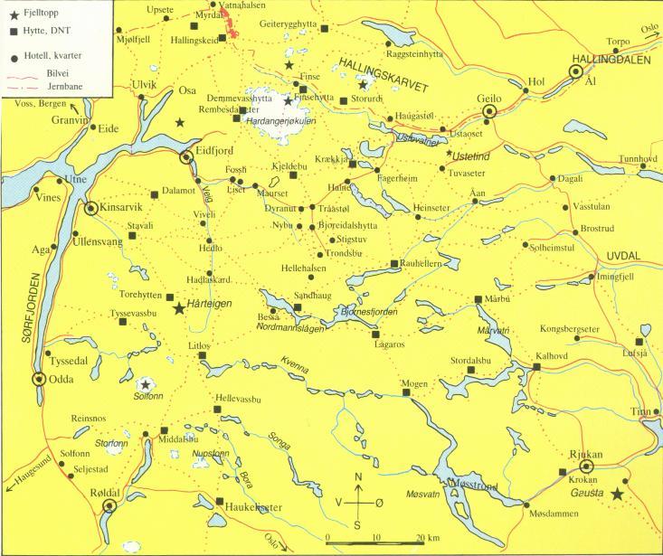 kart hardangervidda vest Botanikk.no: Hardangervidda nasjonalpark kart hardangervidda vest